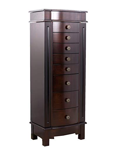Hives and Honey Shiloh Large Jewelry Armoire Cabinet Standing Storage Chest Neckalce Organizer, Dark...