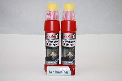 **Set** Kaminglas Reiniger 2 Flaschen a. 200ml Gel mit Bürste Aktivgel Kaminscheibenreiniger