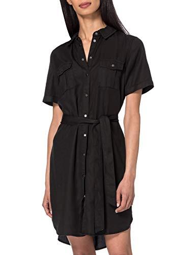 Vero Moda Vmsilja SS Short Shirt Dress Ga Noos Vestido, Black Denim, M para Mujer