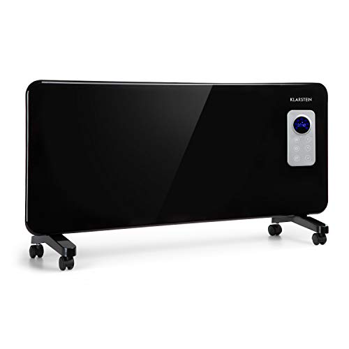 Klarstein Hot Spot CV20 Konvektorheizung - Heizgerät mit Thermostat, 1000 oder 2000 W, IP24 ideal für Badezimmer, Touch-Bedienung, Wochentimer, Stand- oder Wandmontage, Fernbedienung, schwarz