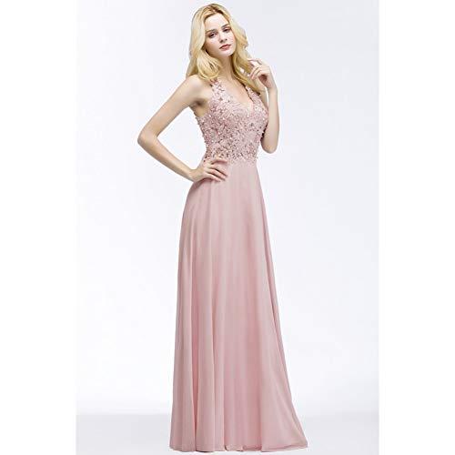 BINGQZ Feestjurk/V-hals Roze Kant Chiffon Lange Avondjurk Elegante Mouwloze Avondjurken met Parels Abendkleid