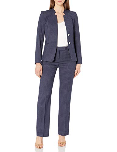 Tahari ASL Women's Star Collar 2 Button Jacket and Trouser Suit, Navy White Pinstripe, 12