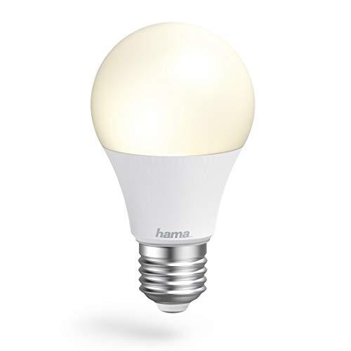 Hama WLAN Lampe mit Lampenfassung E27, (Smart Lampe ohne Hub/Gateway, LED Leuchtmittel mit 10W in Glühbirnenform, Sprach-/App-Steuerung, Smart Home Lampe für verschiedene Lichtatmosphären) Weiß