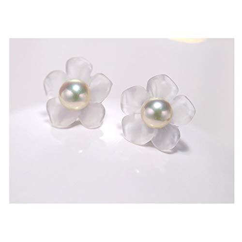 hkwshop Pendientes Mujer Pendientes de Perlas Hecho a Mano Cristal Matte Crystal Tallado a Mano Pendientes de Flores 18K Gold / S925 Silver Stud Pendientes (Color : C)