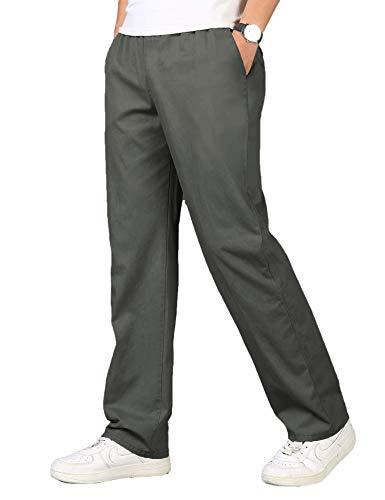 COOFANDY Herren Leinenhose Freizeithose Lang mit Tunnelzug Große Tasche Sommer Leichte Hosen für Männer Dunkel Grau XL
