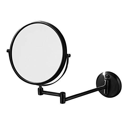 Bath Miroirs à Double Face fixés au Mur de miroirs de vanité de Salle de Bains, miroirs de Maquillage pour la Douche, Chrome 3X Rond,Black_8inch