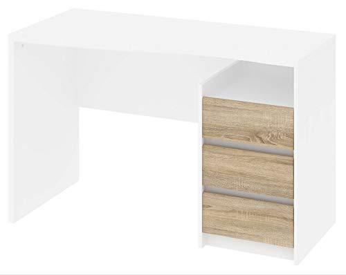 Tvilum Function Plus Schreibtisch, Holzwerkstoff, Bianco/Quercia, Large