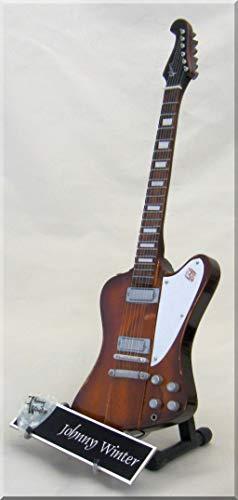 Johnny Winter Miniatur-Gitarre Firebird mit Gitarrenplektrum