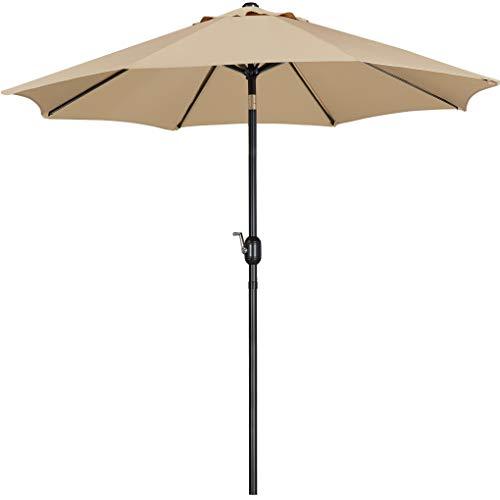 Yaheetech Parasol de Jardin avec Mécanisme et Inclinaison Mât de 38 mm Rond Ø261cm Extérieur pour Patio Piscine Plage Taupe