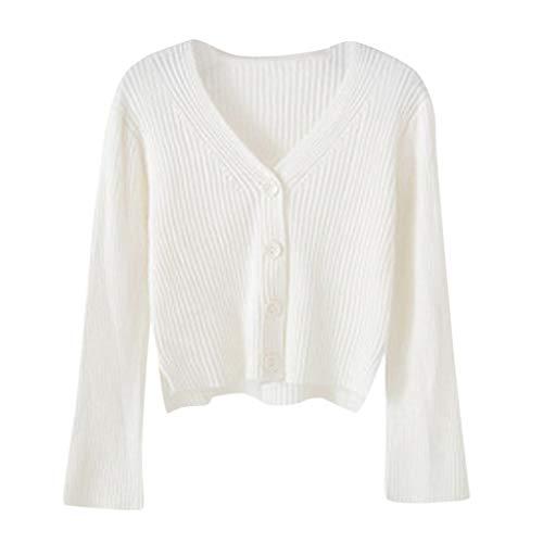 Lulupi Crop Pullover Damen Dünne Strickjacke Kurz, 2023 Herbst Winter Feinstrick Pulli V-Ausschnitt Strickpullover Tops Langarm Sweater Teenager Mädchen