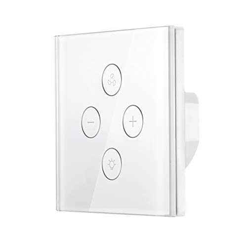 ALLOMN Interruptor de la luz del Ventilador WiFi, Controlador de Velocidad del Ventilador Temporizador de luz del Ventilador Compatible con la Aplicación de Inicio de Google Control Remoto de Voz