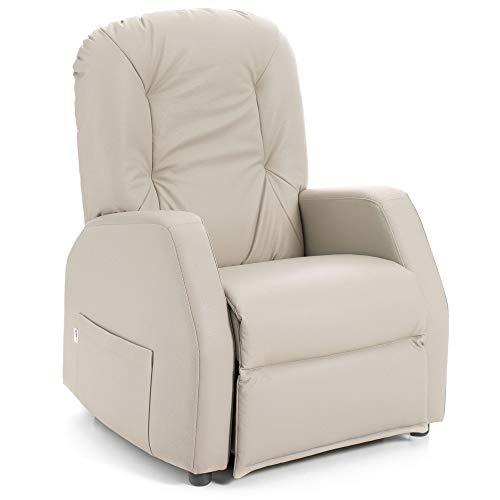 Goldflex - Poltrona MOD. Eleva Soft New, ELETTRICA ALZAPERSONA A 2 Motori, Ausilio di Mobilita per Anziani e Disabili - Telecomando - CERTIFICATA + Prodotto Italiano (Ecopelle Beige)