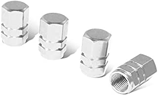 iJDMTOY (4 Tuner Racing Style Silver Aluminum Tire Valve Caps (Hexagon Shape)