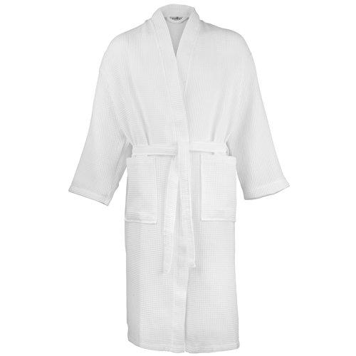 NEW Serviette City gaufré Peignoir en tissu éponge Peignoirs De Bain traditionnel - Blanc - Medium