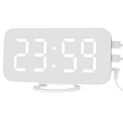 DIYARTS Spiegel Wecker Digital Dual USB Ausgang Lade Induktion Dimmen Snooze Clock für Büro Schlafzimmer (White+White)