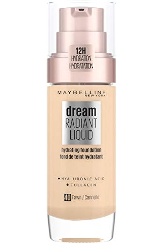 Maybelline Foundation Fond de Teint Hydratant Liquide Dream Radiant avec Acide Hyaluronique et Collagène - Couverture Légère et Moyenne jusqu'à 12 Heures d'hydratation, 40 Fawn