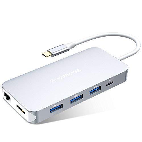USB C ハブ VANMASS usb type c ハブ 9-IN-1 hub 4K HDMI出力 90W充電PD 1000Mbps 有線LAN USB3.O 高速デー...