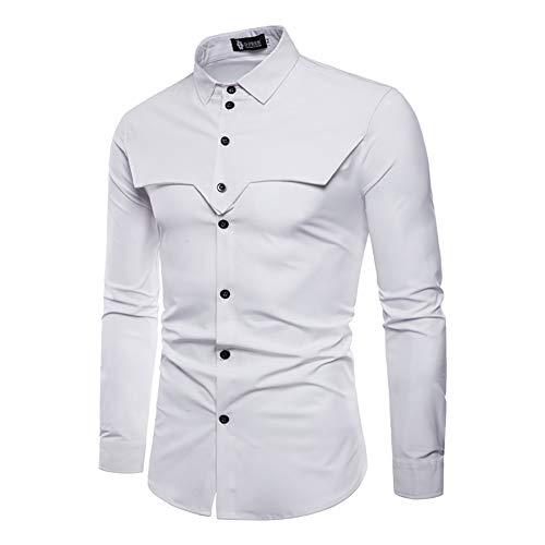 Men's Shirts, Autumn Royal Court Style Solid Dress Lapel Shirt Slim Fit Casual Long Sleeve Men Shirt (Color : White, Size : L)