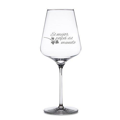 AMAVEL Copa de Vino Tinto con Grabado, para El Mejor Papá del Mundo, Decorada con Hoja de Parra, Capacidad 500 ml
