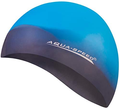 Aqua Speed BUNT Bademütze + Kleines Mikrofaserhandtuch | Damen & Herren | reißfeste Badekappe | Badehaube | Schwimmhaube Wettkampf für Erwachsene | Swimming Cap Kids | Silikon | 03. Bunt / 69
