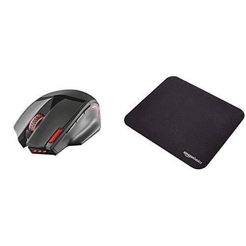 Trust Mouse Gaming Wireless GXT 4130 Pitt con 9 Pulsanti e Pulsante di triplo Fuoco, Illuminato, Nero