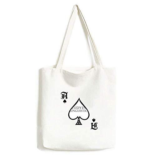 Bolsa de Mano para Estudio, lingüística, Poker, Pala de Poker, Lavable, de la Marca Short Phrase