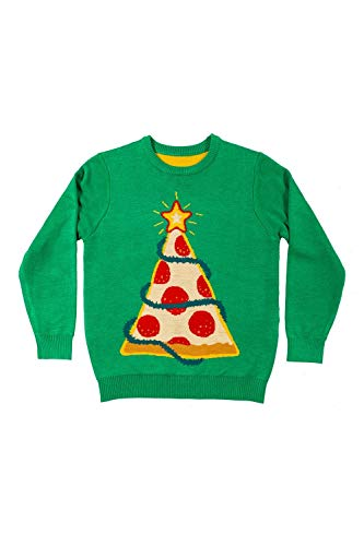 Tipsy Elves Pizza Tree Ugly Christmas Sweater for Kids - Tacky Green Food Themed Holiday Pullover Size: M