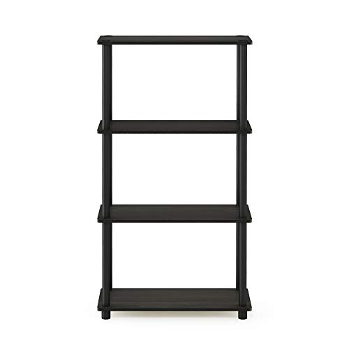 Furinno (99557EX/BK) Turn-N-Tube 4-Tier Multipurpose Shelf Display Rack - Espresso/Black