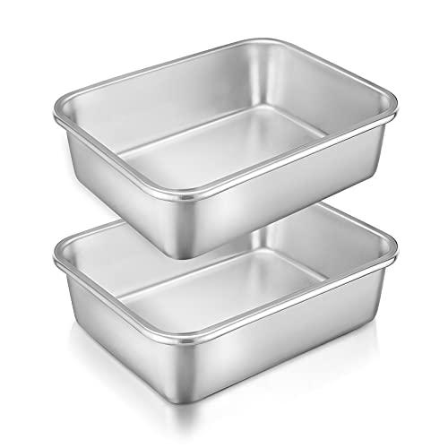 Homikit Auflaufform Set, 2 Stück Edelstahl Rechteckig Kuchenform Backform Ofenform Klein, 27 x 21 x 8 cm, Perfekt für Lasagne/Mäser/Brownie, Schwerlast & Spülmaschinengeeignet