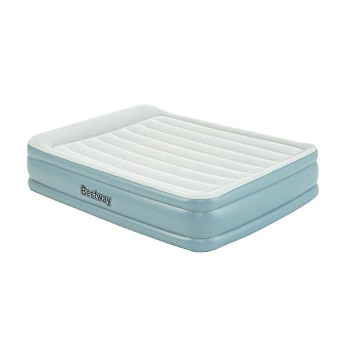 Bestway Tritech Luftbett 203x152x46 cm, selbstaufblasendes Doppelbett mit App-gesteuerter Elektropumpe und integriertem Kopfteil