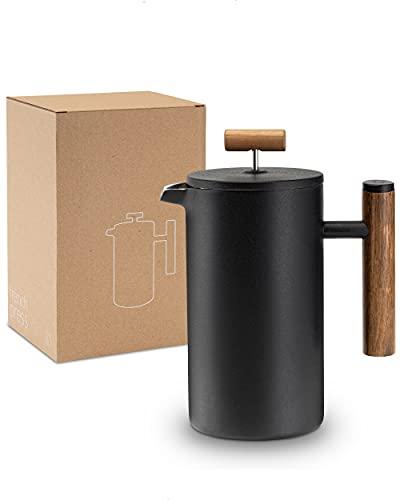 Lambda Coffee Prensa francesa de acero inoxidable y madera, 1 litro (5 tazas, grande) para el café perfecto, cafetera térmica de doble pared, cafetera manual y prensa de café, color negro