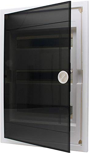 Kopp 346003013 Tür Unterputz-Verteilerkasten mit Plastiktür 3-reihig für 36 Pole, Grau/Schwarz