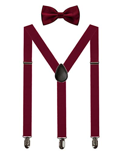 Aissy Herren Damen Hosenträger 2.5cm Y Form 3-Clips elastisch und längenverstellbar Hosenträger breit mit Fliege für Herren und Damen Wein