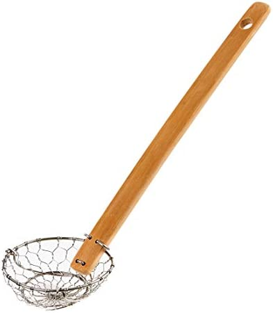 Helen's Asian Kitchen Helen Chen's Asian Kitchen Stainless Steel Spider Natural Bamboo Handle, 7-Inch Strainer Basket, Silver/Brown