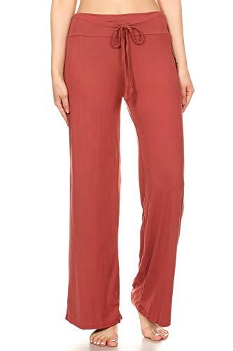 Women's Casual Comfy Wide Leg Pajama Lounge Pants(No Pockets)-PJ10-MARSALA-M