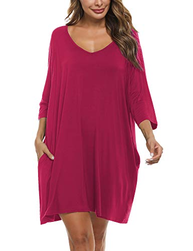 Doaraha Camisones de Algodón Modal para Mujer Vestido Camisón Super Suave Pijama Ropa de Dormir Talla Grande Verano Camisa de Dormir Cuello en V Manga 3/4 Loungewear (Vino Rojo, 2XL)