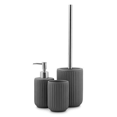 3tlg. Badset mit Seifenspender, Zahnputzbecher, WC-Bürste Keramik Grau/Silber Edelstahl-Optik Badezimmer Badaccesoires Toilettenbürste Set