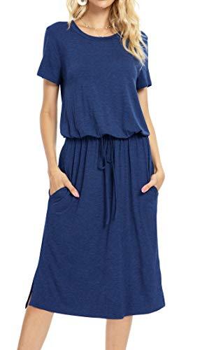 Womens Summer Plain Short Sleeve Casual Pockets Midi Dress with Belt Deepblue L
