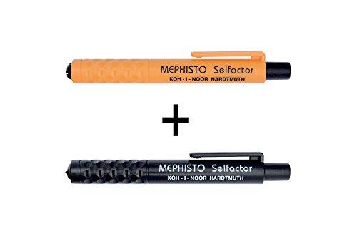 KOH-I-NOOR Mephisto 5301 - matita a pressione in plastica, senza temperamatite, spessore della mina: 5.6 mm, set di 2 - arancione + nero