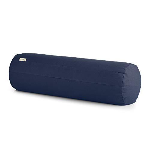 basaho Yoga Bolster Yogarolle | Bio-Baumwolle (GOTS-Zertifiziert) | Buchweizenschalen | Abnehmbarer und waschbarer Bezug | Yoga Rolle Yogakissen (Mitternachtsblau)