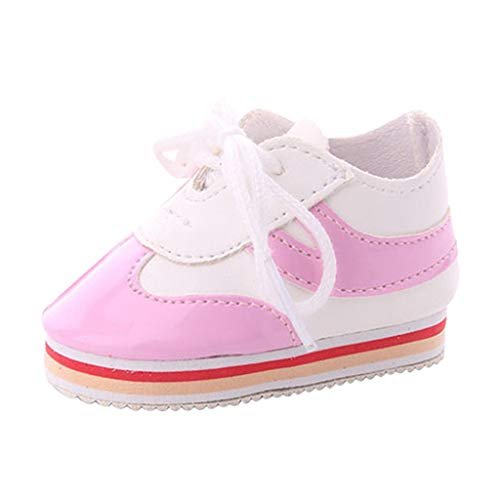 SM SunniMix Mini Schuhe Sneaker für 18 Zoll Puppe, Handgefertigte Schnürschuhe, Puppenzubehör - Rosa