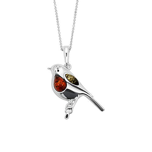 Kiara Jewellery 925 Sterling Silver Robin Pendant Necklace Inset With Multicolour Baltic Amber on 18' Sterling Silver Trace Or Curb Chain.