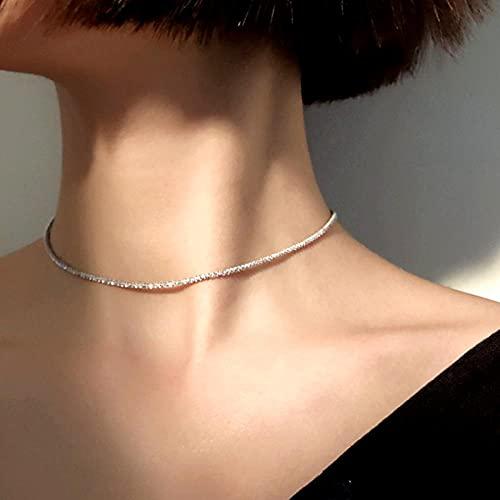 WQZYY&ASDCD Collar De Mujer Gargantilla Redonda Geométrica Collar De Plata De Ley 925 Regalo De Joyería Fina Minimalista De Moda