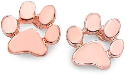 VW Pets Hoop Earrings Metal Paw Cute Stud Earrings (Color : Pink)