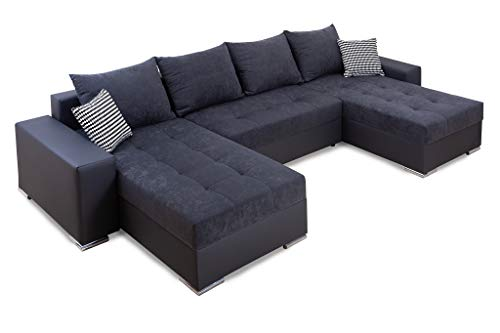 Collection AB Jockey XL Wohnlandschaft mit Bettfunktion und Bettkasten Ecksofa, Stoff, Anthrazit, 161 x 311 x 84 cm