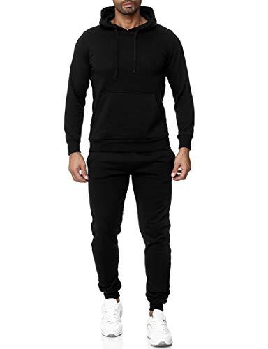 Subliminal Mode Ensemble De Survêtement Sweat Shirt à Capuche Basic + Jogging Décontracté Uni SB501 Noir XXL