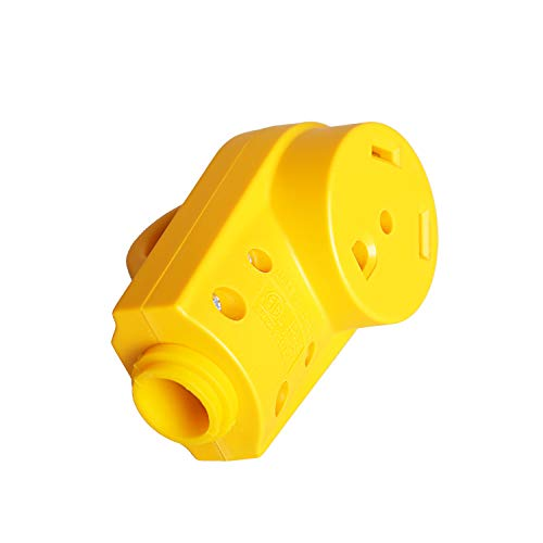Epicord 125V/30Amp Heavy Duty RV Female PowerGrip Replacement Receptacle Plug with Ergonomic Grip Handle, Yellow