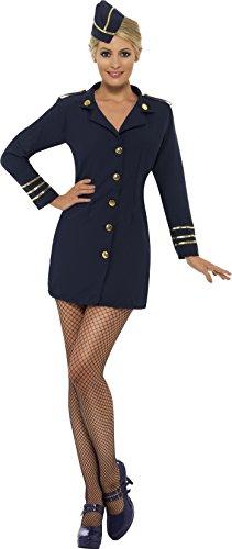 Smiffys-28879L Disfraz de Asistente de Vuelo Marino, con Vestido y Sombrero, Color Azul, L-EU Tamaño 44-46 (Smiffy