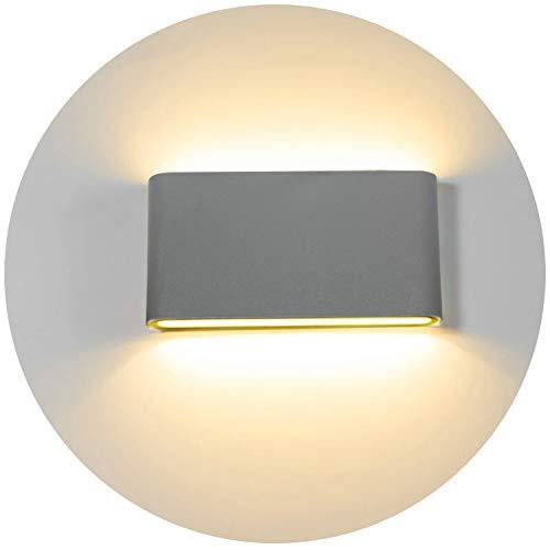 Topmo-plus 12w LED Focos pared balcón/LED apliques pared al aire libre moderno/impermeable IP65 OSRAM SMD/Bañadore de vestíbulo aluminio Arriba y Abajo Diseño 1320LM 3000K (Gris/blanco cálido)