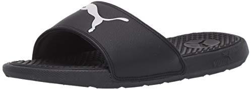 PUMA Unisex-Child Cool Cat Sport Slide Sandal, Black White, 7 M US Big Kid